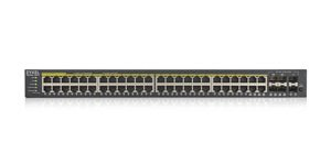 Zyxel GS1920-48HPv2, 52 Port Smart Managed PoE Switch 48x Gigabit Copper PoE and 4x Gigabit dual pers., hybrid mode