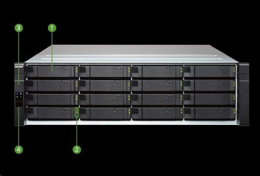 QNAP™EJ1600-V2 16 bay RAID Expansion unit redundant controllers 3U rack RP PSU