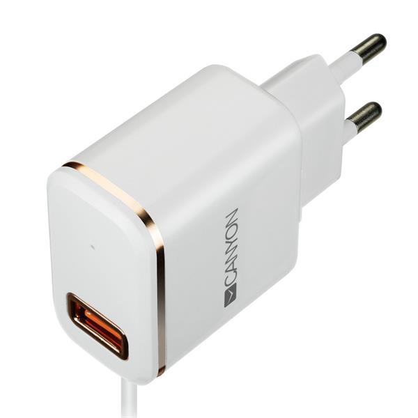 Canyon CNE-CHA043WR, univerzálna nabíjačka do steny, 1x USB, 5V/2.1A, integrovaný kábel 1m s konektorom Lightning, biela