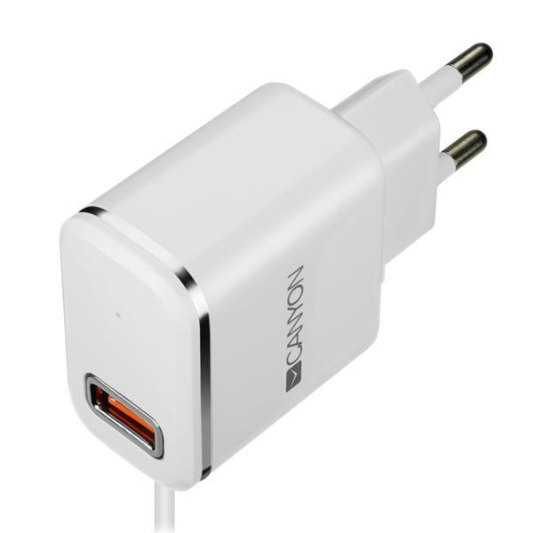 Canyon CNE-CHA043WS, univerzálna nabíjačka do steny, 1x USB, 5V/1A, kábel 1m USB 2.0 na Lightning, biela