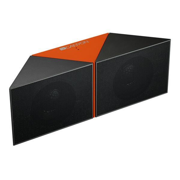 Canyon CNS-CBTSP4BO Bluetooth 4.1 reproduktor, Stereo, 3.5mm miniJack, microUSB, microSD, akum., oranžovo - čierny