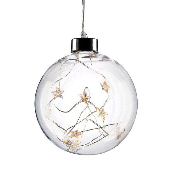 Solight LED vianočná gula sklenená, 10LED, 2x AA, IP20
