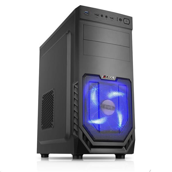 1stCOOL JAZZ 2, skrinka ATX, blue fan, USB3.0, čierna