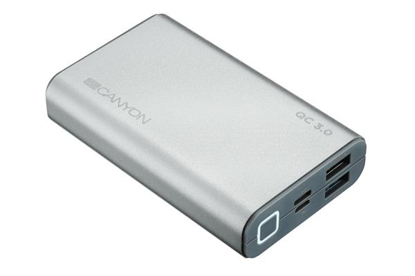 Canyon CND-TPBQC10S Powerbank 10.000 mAh, Quick Charge 3.0 a Power Delivery, 3 x rýchlejšie nabíjanie, strieborná