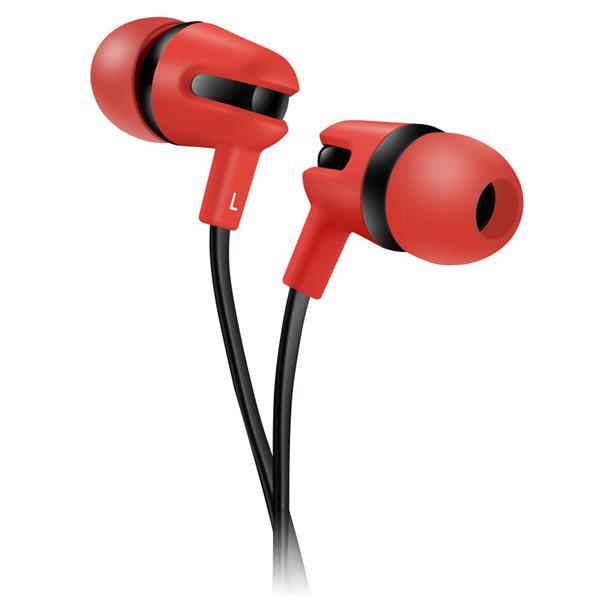 Canyon CNS-CEP4R štýlové slúchadlá do uší, pre smartfóny, integrovaný mikrofón a ovládanie, plochý kábel, červené