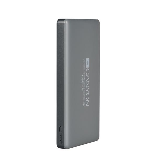 Canyon CNS-TPBP15DG Powerbank, ultratenká polymérová, 15.000 mAh, vstup Lightning + microUSB, 2 x USB výstup, šedá