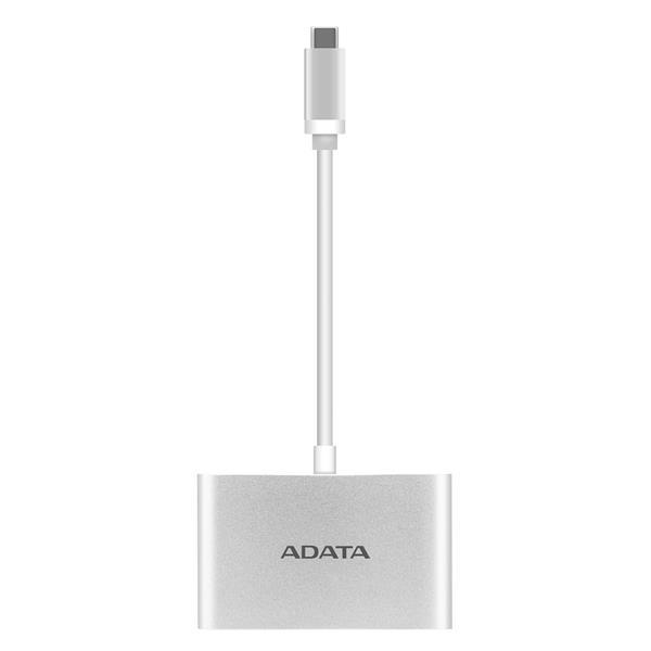 A-DATA Hub USB-C na USB-A 3.1, strieborný