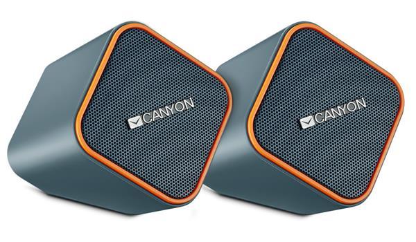 Canyon CNS-CSP203O reproduktory 2.0, 2 x2,5W, USB napájanie, 3.5 mm mini-jack, šedo-oranžové