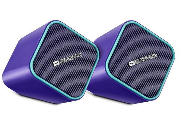 Canyon CNS-CSP203PU reproduktory 2.0, 2 x2,5W, USB napájanie, 3.5 mm mini-jack, fialové