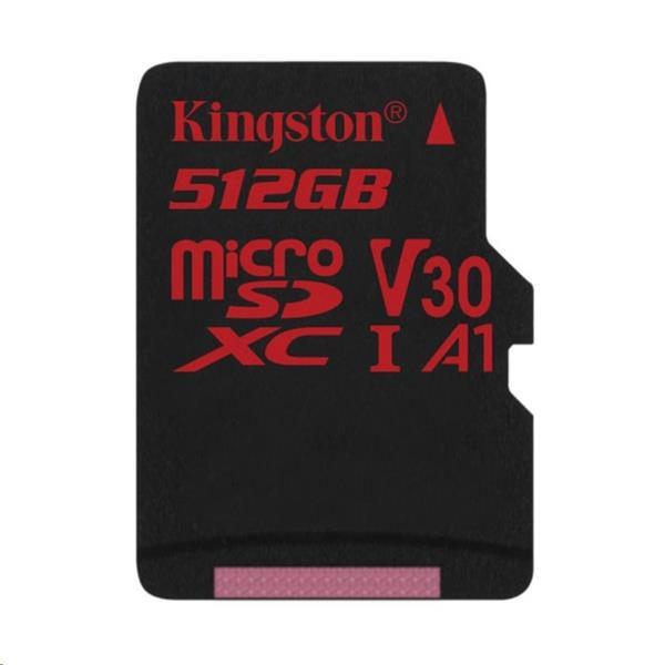 512 GB . microSDXC karta Kingston Canvas React Class U3 UHS-I V30 A1 (r100MB/s, w80MB/s) bez adaptéra