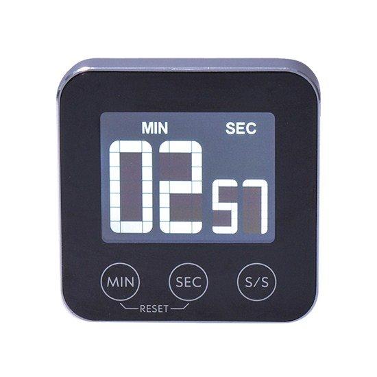 Solight digitálna kuchynská minútka, odpočítanie alebo pripočítania času, hliník, čierna farba, magnet pre prichytenie