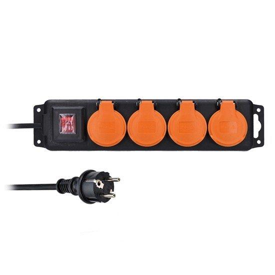 Solight 4z predlžovací prívod IP44, 5m, 3 x 1,5mm2, gumový kábel, vypínač, vonkajší