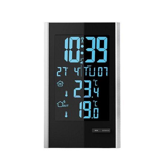 Solight Meteostanica, LCD s voliteľnou farbou podsvietenia, vnútorná/vonkajšia teplota, RCC, čierna / strieborná