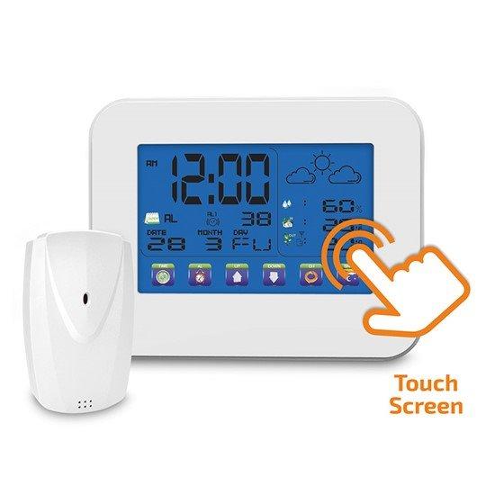 Solight Meteostanica, veľký dotykový farebný LCD, vnútorná/vonkajšia teplota, vlhkosť, RCC, biela