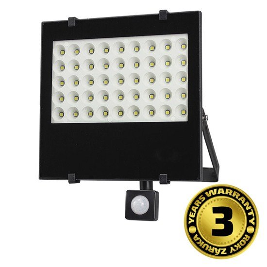 Solight LED vonkajší reflektor, 50W, 4250lm, AC 230V, so senzorom, čierna