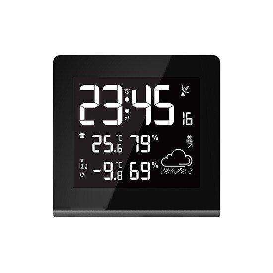 Solight Meteostanica, veľký LCD s voliteľnou farbou podsvietenia, vnútorná/vonkajšia teplota, vlhkosť, RCC, čierna