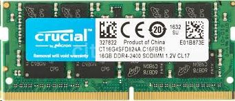 16GB DDR4 2400 MT/s (PC4-19200) CL17 SR x8 Crucial Unbuffered SODIMM 260pin
