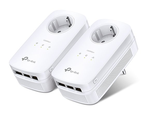 TP-LINK TL-PA8030PKIT AV1300 Passthrough Powerline KIT,Qualcomm, 3 Gigabit Ports, 1300Mbps Powerline , 2*2 MIMO