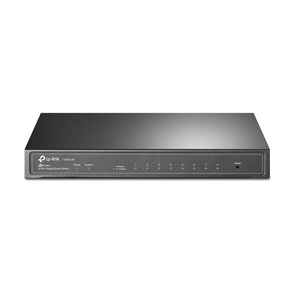 TP-LINK T1500G-8T(TL-SG2008) JetStream™ 8-Port Gigabit Smart Switch, 8 Gigabit RJ45 Ports including 1 PD Port
