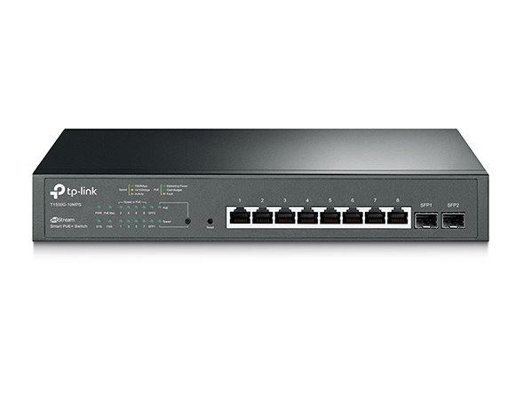 TP-LINK T1500G-10MPS JetStream™ 8-Port Gigabit PoE+ Smart Switch, 8 Gigabit RJ45 Ports, 2 SFP Slots