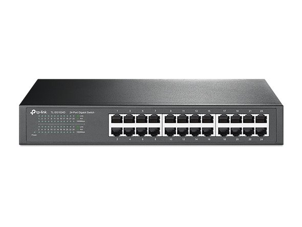 TP-LINK TL-SG1024D 24-Port Gigabit Switch, 24 Gigabit RJ45 Ports, 1U 13-inch Rack-mountable Steel Case