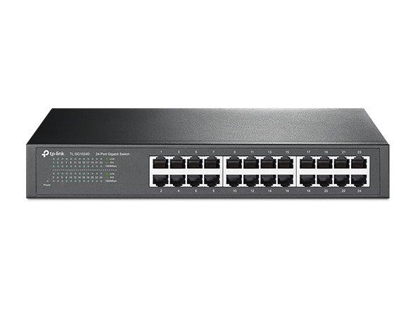 TP-LINK TL-SG1024D 24-Port Gigabit Switch, 24 Gigabit RJ45 Ports, 1U 13-inch Rack-mountable Steel Case