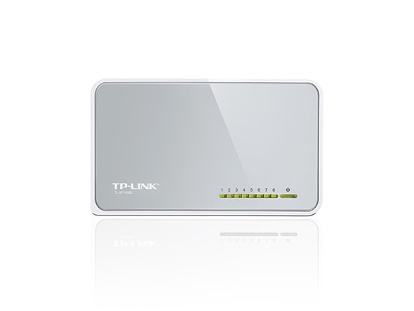 TP-LINK TL-SF1008D 8-Port 10/100M mini Desktop Switch, 8 10/100M RJ45 Ports, Desktop Plastic Case