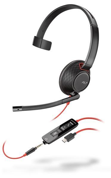 Plantronics BLACKWIRE C5210, USB-A,WW, náhlavná súprava na jedno ucho