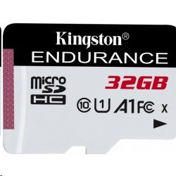 32 GB . micro SDHC karta Kingston High Endurance Class 10 UHS-I U1 (r95MB/s, w30MB/s) bez adaptéra