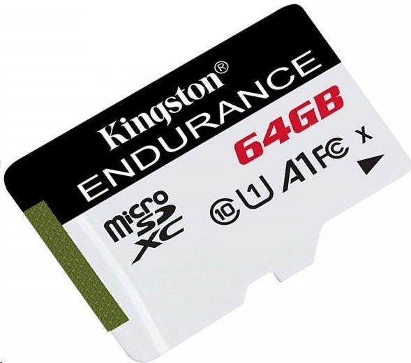 64 GB . microSDXC karta Kingston High Endurance Class 10 UHS-I U1 (r95MB/s, w30MB/s) bez adaptéra