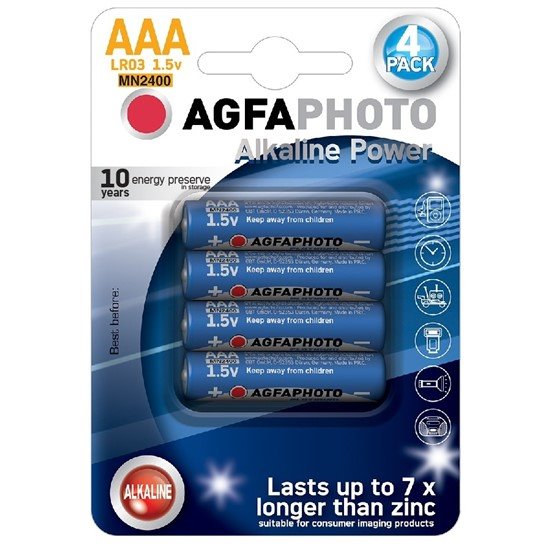 AgfaPhoto Power alkalická batéria 1.5V, LR03/AAA, blister 4ks