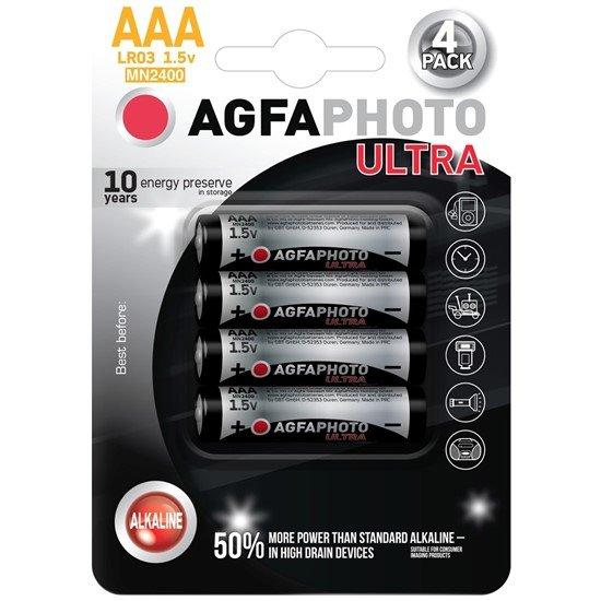 AgfaPhoto Ultra alkalická batéria 1.5V, LR03/AAA, blister 4ks
