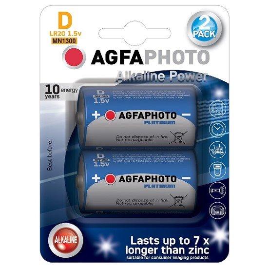 AgfaPhoto Power alkalická batéria 1.5V, LR20/D, blister 2ks