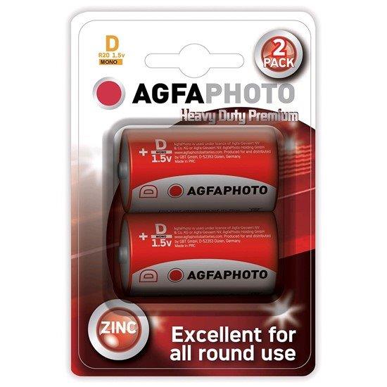 AgfaPhoto zinková batéria R20/D, blister 2ks