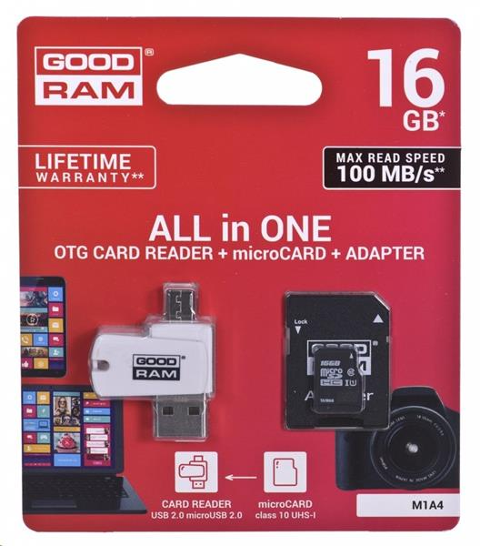 16 GB . microSDHC karta GOODRAM Class 10 UHS I + čítačka (All in One)