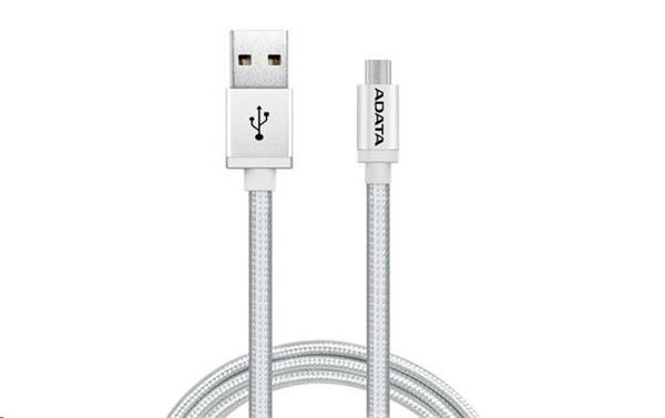 A-DATA kábel Micro USB, 200cm, strieborný