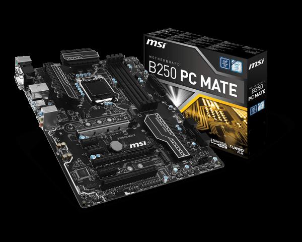 MSI B250 PC MATE/Socket 1151/DDR4/USB3.1/DSUB/DVI-D/HDMI/Intel® I219-V/ATX