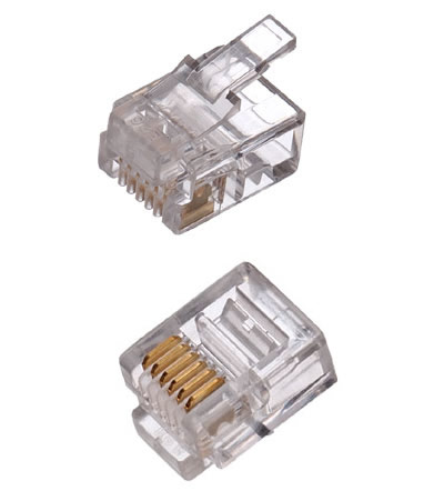 CNS konektor RJ12-6p6c plochý kábel, lanko, (100ks)