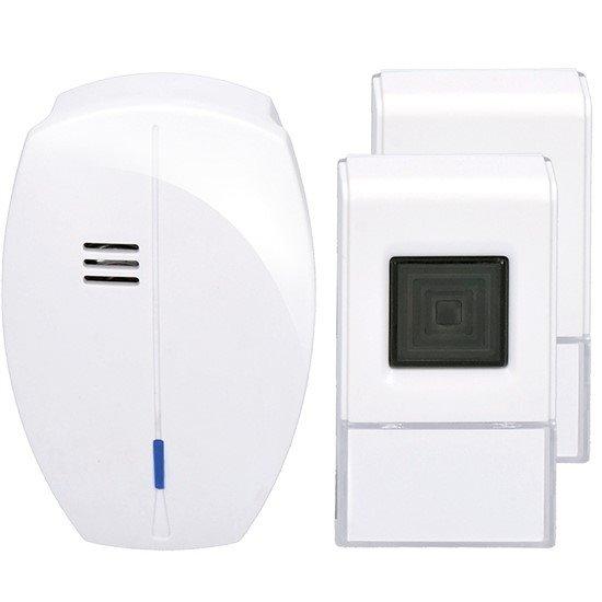 Solight bezdrôtový zvonček, 2 tlačidlá, do zásuvky, 120m, biely, learning code