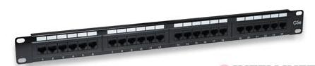 OEM patch panel 24port Cat5E, UTP, blok 110, 1U, čierny