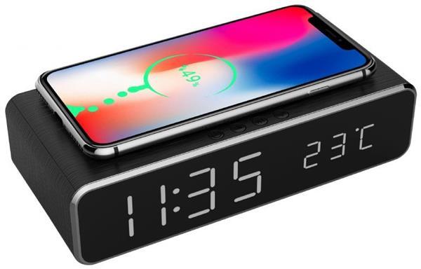 Gembird digitálny budík s funkciou bezdrôtovej nabíjačky pre smartfóny, čierny