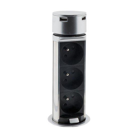 Solight USB výsuvný blok zásuviek, 3 zásuvky, plast, kruhový tvar, predlžovací prívod 1,5m, 3 x 1mm2, strieborný