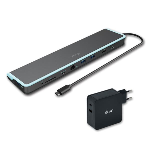 i-tec USB-C Flat Docking Station with Power Delivery 60W + Universal Charger 60W