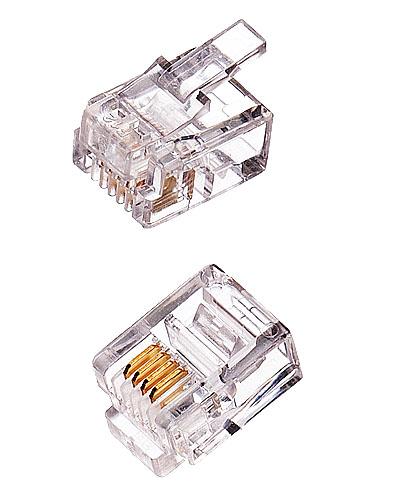 OEM konektor RJ11-6p4c plochý kábel, lanko, (100ks)