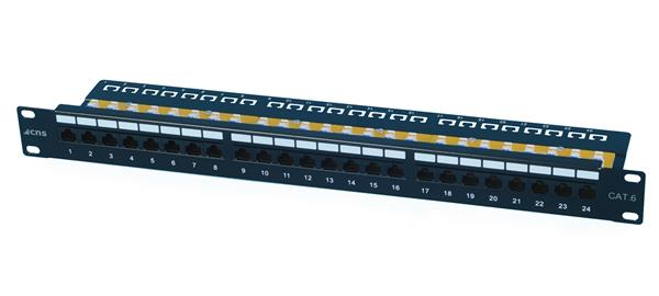 OEM patch panel 24port Cat6, UTP, blok 110, vyväz. lišta, 1U, čierny