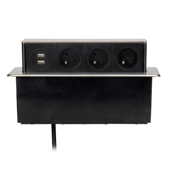 Solight USB výsuvný blok zásuviek, 3 zásuvky, hliník + plast, obdĺžnikový tvar, predlžovací prívod 1,9m, 3 x 1mm2, strie
