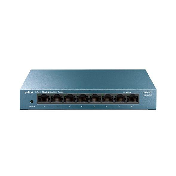 TP-LINKLS108G LiteWave 8-Port Gigabit Desktop Switch, 8 Gigabit RJ45 Ports, Desktop Steel Case