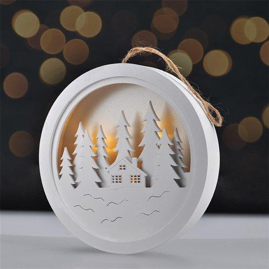 Solight LED dekorácie závesná, les a chatka, biela, 2x AAA
