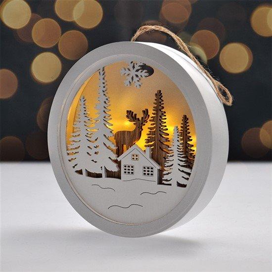 Solight LED dekorácie závesná, les a jeleň, biela a hnedá, 2x AAA