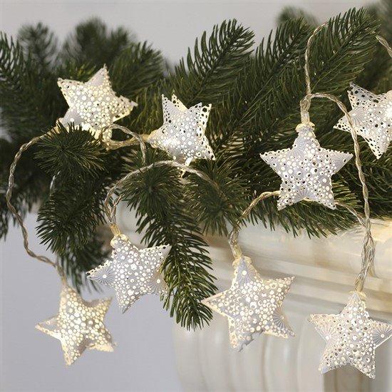 Solight LED reťaz vianočné hviezdy, kovové, biele, 10LED, 1m, 2x AA, IP20